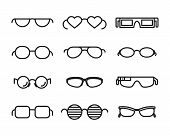 stock photo of optical  - Line  glasses icons - JPG