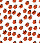 stock photo of ladybug  - macro with seven points ladybug seamless background - JPG