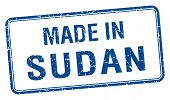 stock photo of sudan  - made in Sudan blue square isolated stamp - JPG