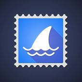 image of fin  - Illustration of a blue mail stamp icon with a shark fin - JPG