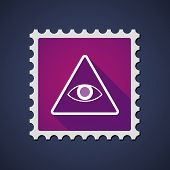 stock photo of illuminati  - Illustration of a purple mail stamp icon with an all seeing eye - JPG