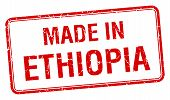 stock photo of ethiopia  - made in Ethiopia red square isolated stamp - JPG