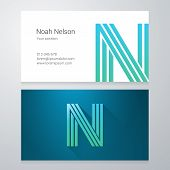 picture of letter n  - Design icon letter N Business card template - JPG