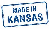 image of kansas  - made in Kansas blue square isolated stamp - JPG