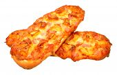 foto of baguette  - Fresh ham and pineapple baguette pizza isolated on a white background - JPG
