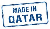 foto of qatar  - made in Qatar blue square isolated stamp - JPG