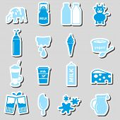 picture of milk  - milk and milk product theme stickers set eps10 - JPG
