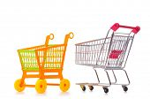 picture of trolley  - Shopping supermarket trolley isolated on the white - JPG