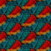 stock photo of dodecahedron  - Seamless gemstone vector pattern with cubes and pyramids - JPG