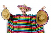 pic of moustache  - Funny young mexican with false moustache isolated on white - JPG