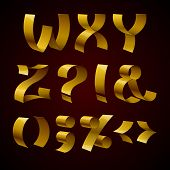 foto of punctuation  - Set of isolated golden shiny ribbon font W - JPG