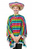 stock photo of moustache  - Funny young mexican with false moustache isolated on white - JPG