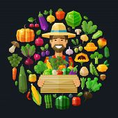 picture of wooden crate  - happy farmer with a wooden crate of fruit and vegetables - JPG