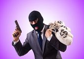 foto of gangster  - Gangster with bags of money against the gradient - JPG