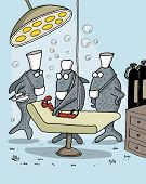 pic of worm  - Funny cartoon of fishes as medical team operating a worm underwater - JPG