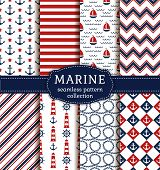 Sea And Nautical Patterns Set. poster