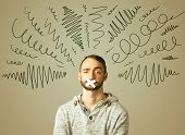 pic of taboo  - Young man with taped mouth and curly lines around his head   - JPG