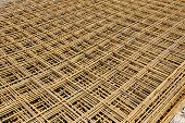 image of reinforcing  - Abstract image of reinforcement steel mesh for concrete slabs - JPG