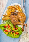 pic of roast duck  - duck leg with roasted potatoes and fruit salsa - JPG