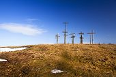 stock photo of cross hill  - the wooden crosses established on the hill - JPG