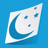 picture of crescent-shaped  - Sticker with image of crescent moon and stars - JPG
