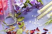 pic of placebo  - small glass tubes with homeopathy globules syringe and flowers - JPG