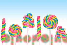 foto of lolli  - Fantasy sweet candy land with lollies on blue background - JPG