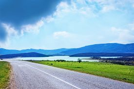 stock photo of crimea  - road in Crimea road and sky in Crimea - JPG
