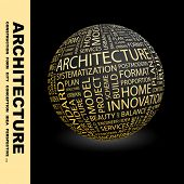ARCHITECTURE. Globe with different association terms. Wordcloud vector illustration.