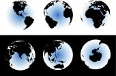 World Map On Glowing Globes poster