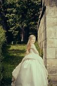 Small Girl In White Dress Outdoor poster