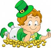 picture of saint patrick  - Illustration of a Kid Lying on Gold Coins - JPG