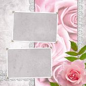 foto of shabby chic  - vintage wedding frame for photo with pink roses - JPG