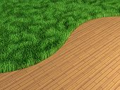 Lawn and parquet in an interior