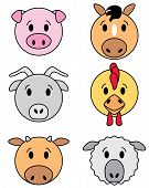 Icon set of funny farm animals