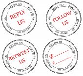 Set Of Stamps : Follow, Reply,