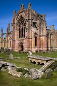 pic of embalming  - Melrose Abbey in the Scottish Borders is a beautiful and atmospheric red sandstone medieval ruin - JPG