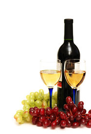 image of wine grapes  - Two glasses of wine bottle and grapes isolated on white - JPG