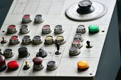 Industrial Remote Control Of Machinery With Different Buttons. poster