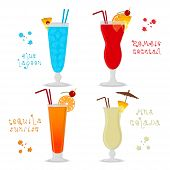 Vector Illustration For Set Alcohol Cocktails Blue Lagoon, Zombie, Pina Colada, Tequila Sunrise. Ful poster