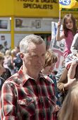 Billy Bragg walking with the marches during the strikers march through Exeter City Centre.