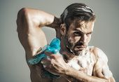Strong Sexy Macho With Muscle Torso Is Washed In Shower. Skin Care, Spa, Beauty, People Concept - Se poster