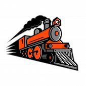 Mascot Icon Illustration Of A Vintage Steam Locomotive Or Train Speeding In Full Speed Coming Up The poster