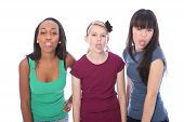 Ethnic Teenage Girl Friends Fun Tongues Out