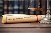 Law And Justice, Scales Of Justice, Universal Declaration Of Human Rights On A Wooden Background, Hu poster