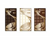 Chocolate Bar Packaging Set. Design Packaging For White, Milk And Dark Chocolate. Vector Illustratio poster