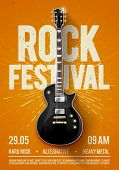 Vector Illustration Orange Rock Festival Concert Party Flyer Or Posterdesign Template With Guitar, P poster