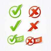 Vector Illustration Yes Or No Check Mark Stickers Labels poster