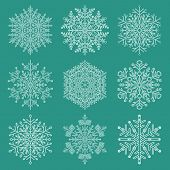 Set Of White Snowflakes. Fine Winter Ornaments. Snowflakes Collection. Snowflakes For Backgrounds An poster
