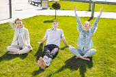 Break Time. Three Chief Executives Feeling Amazing Spending Their Break Time Outside The Office Sitt poster